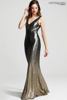 HotSquash V-Neck Sequin Maxi Dress