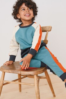 Teal/Orange Colourblock Crew And Joggers Set (3mths-7yrs)