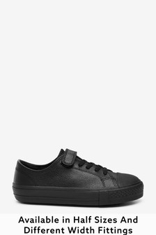 Black Wide Fit (G) Leather Single Strap Elastic Laces Bump Toe Shoes