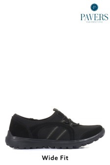 Pavers Ladies Black Lightweight Slip-On Trainers