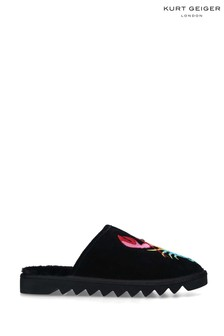 Kurt Geiger London Black Otter Rainbow Slipper Shoes