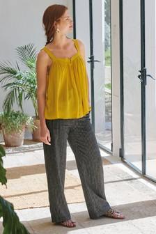 Black Stripe Linen Blend Wide Leg Trousers