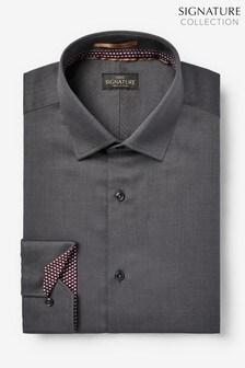 Grey Regular Fit Single Cuff Signature Shirt with Geometric Trim