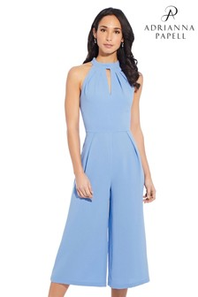 Adrianna Papell Blue Cameron Woven Cropped Jumpsuit