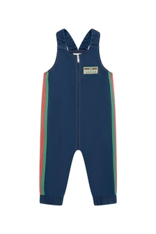 GUCCI Kids Baby Boys Blue Denim Overalls
