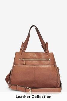 Tan Leather Hummingbird Detail Hobo Bag