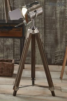 Hereford Grey Wood and Silver Metal Film Tripod Floor Lamp by Pacific Lifestyle