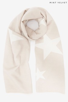 Mint Velvet Cream Star Print Scarf