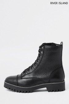River Island Black Lace-Up Hiker Boots