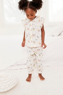 Floral Jacquard Woven Button Through Ruffle Shoulder Pyjamas (9mths-8yrs)