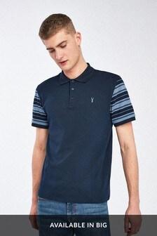 Navy Sleeve Blocked Soft Touch Poloshirt