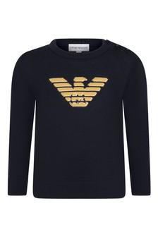 Baby Boys Navy Wool Logo Jumper