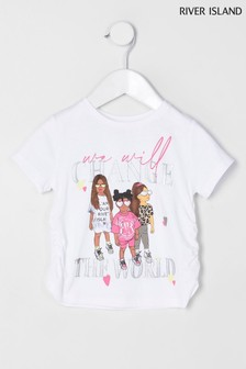 River Island White Girl Graphic Ruched T-Shirt