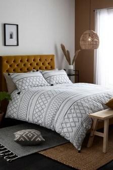 Mono Tassel Duvet Cover And Pillowcase Set