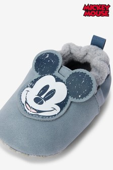 Blue Mickey Mouse Slip-On Pram Shoes (0-24mths)