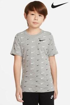 Nike Grey Swoosh Print T-Shirt