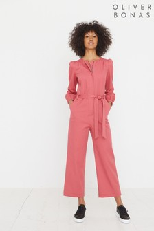 Oliver Bonas Pink Twill Pink Long Sleeve Jumpsuit