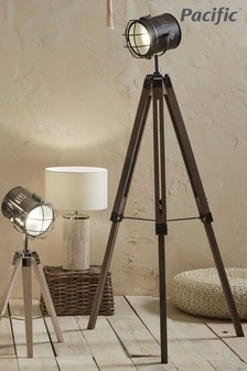 Bullseye Grey Metal Antique Wood Tripod Marine Floor Lamp by Pacific