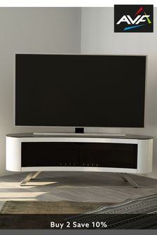 White AVF Bay 1500 Curved TV Stand
