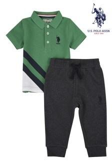 U.S. Polo Assn. Cross Stripe Polo and Joggers Set