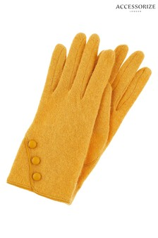 Accessorize Orange Wool Gloves With Buttons