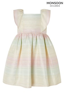 Monsoon Natural Baby Sherbert Jacquard Dress