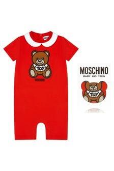 Moschino Kids Baby Red Cotton Romper