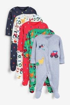 Farmyard Character 5 Pack Printed Sleepsuits (0-2yrs)