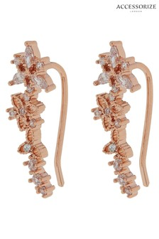 Accessorize Gold Tone Z Sparkle Flower Ear Crawlers