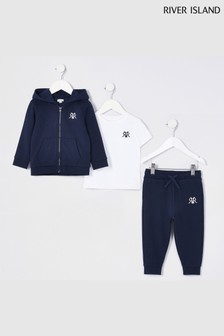 River Island Navy Younger Boys Hoodie, T-Shirt And Joggers 3 Piece Set