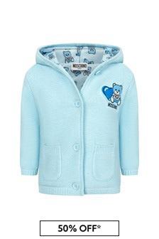 Moschino Kids Baby Boys Blue Cotton Cardigan