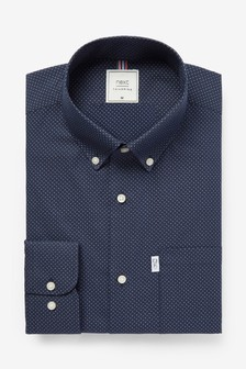Navy Print Stag Tab Regular Fit Single Cuff Easy Iron Button Down Oxford Shirt