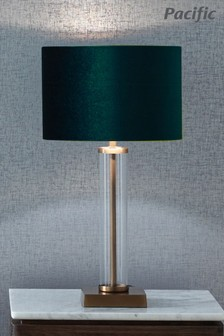 Keva Clear Glass and Antique Brass Table Lamp by Pacific Lifestyle