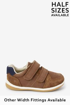 Tan Wide Fit (G) Leather First Walker Shoes