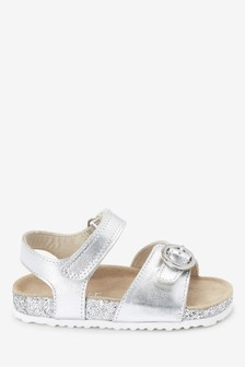 Silver Corkbed Leather Buckle Sandals (Younger)