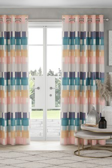 Skandi Block Print Eyelet Lined Curtains