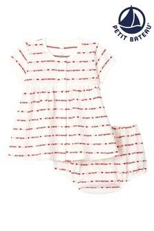 Petit Bateau White Hearts Logo Printed Dress