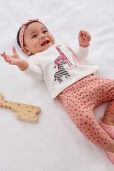 Pink Top And Leggings 3 Piece Set (0mths-2yrs)