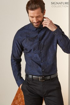 Blue Regular Fit Floral Jacquard Shirt
