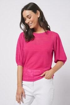 Pink Linen Blend Volume Sleeve Jumper