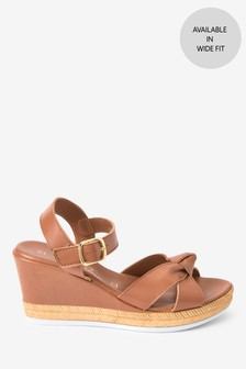 Tan Twist Detail Two Part Wedges