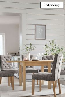 Oak Effect Malvern 4-6 Seater Square To Rectangle Dining Table