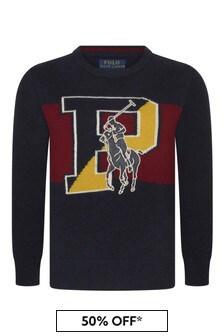 Boys Navy Merino Wool Logo Sweater