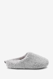 Grey Forever Comfort Soft Fur Mule Slippers
