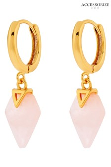 Accessorize Pink Rose Quartz Healing Stone Huggie Hoops