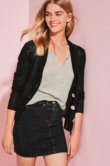 Black Linen Blend Button Front Cardigan