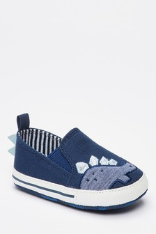 Navy Embroidered Dinosaur Pram Slip-On Shoes (0-24mths)