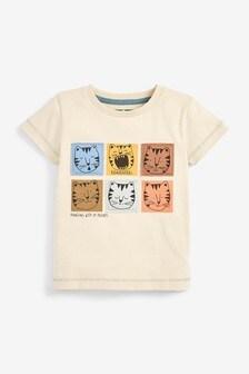 Cream Tiger Appliqué T-Shirt (3mths-7yrs)