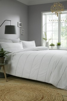 Appletree Salcombe Embroidered Stripe Cotton Duvet Cover And Pillowcase Set