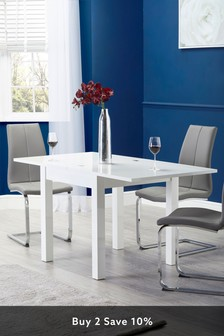White White Gloss 4-6 Seater Square To Rectangle Dining Table